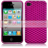 BOLSA / CAPA SILICONE GEL HEXAGONOS PARA APPLE IPHONE 4 / 4S ROSA OPACA