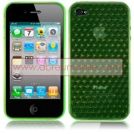 BOLSA / CAPA SILICONE GEL HEXAGONOS PARA APPLE IPHONE 4 / 4S VERDE