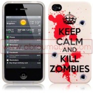 "BOLSA / CAPA SILICONE GEL ""KILL ZOMBIES"" PARA APPLE IPHONE 4 / 4S"