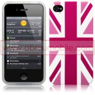 "BOLSA / CAPA SILICONE GEL ""REINO UNIDO"" PARA APPLE IPHONE 4 / 4S ROSA"