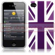 "BOLSA / CAPA SILICONE GEL ""REINO UNIDO"" PARA APPLE IPHONE 4 / 4S ROXA"