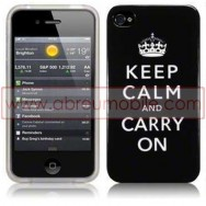 "BOLSA / CAPA SILICONE GEL ""KEEP CALM"" PARA APPLE IPHONE 4 / 4S PRETA"