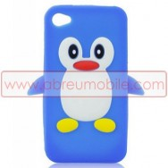 "BOLSA / CAPA SILICONE ""PINGUIM 3D"" PARA APPLE IPHONE 4 / 4S AZUL-BRANCA"