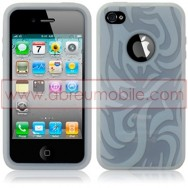 "BOLSA / CAPA SILICONE ""TRIBAL"" PARA APPLE IPHONE 4 / 4S BRANCA (TRANSPARENTE)"