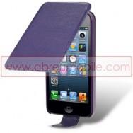 Bolsa / Capa Pele Sintetica Flip Cover Para APPLE IPHONE SE / 5s / 5 Roxa