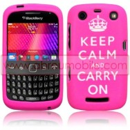 "CAPA SILICONE ESTAMPADA ""KEEP CALM"" PARA BLACKBERRY CURVE 9350 / 9360 / 9370 ROSA"