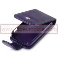 Bolsa / Capa Pele Sintetica Flip Cover Para HTC EXPLORER Roxa