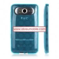 CAPA SILICONE GEL   PARA HTC HD7 CIRCULOS AZUL CLARA