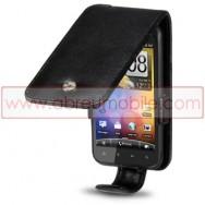 Bolsa / Capa Pele Sintetica Flip Cover Para HTC INCREDIBLE S Preta