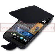 Bolsa / Capa Pele Sintetica Flip Cover Para HTC ONE (M7) Preta