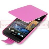 Bolsa / Capa Pele Sintetica Flip Cover Para HTC ONE (M7) Rosa