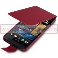 Bolsa / Capa Pele Sintetica Flip Cover Para HTC ONE (M7) Vermelha