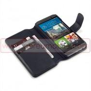 Bolsa / Capa Pele Genuina Flip Cover Livro Para HTC ONE M9 Preta