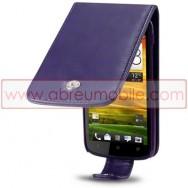 Bolsa / Capa Pele Sintetica Flip Cover Para HTC ONE S Roxa