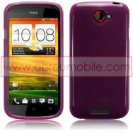 CAPA SILICONE GEL PARA HTC ONE S ROXA TRANSPARENTE