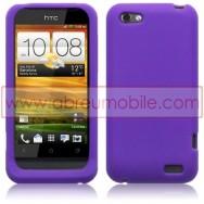 CAPA SILICONE PARA HTC ONE V ROXA