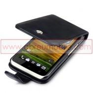 Bolsa / Capa Pele Sintetica Flip Cover Para HTC ONE X / ONE X+ Preta