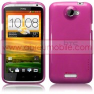 CAPA SILICONE GEL PARA HTC ONE X / ONE X+ ROXA TRANSPARENTE