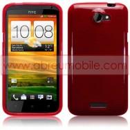 CAPA SILICONE GEL PARA HTC ONE X / ONE X+ VERMELHA TRANSPARENTE