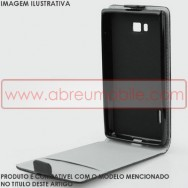 Bolsa / Capa Pele Sintetica Flip Cover c/ Suporte em Gel Para LG SPIRIT Y70 4G LTE 440N Preta c/ Interior Cinza
