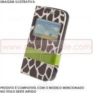 Bolsa / Capa Pele Sintetica Flip Cover Horizontal Estampada Girafa v31 c/ Janela e Função Cavalete Para SONY XPERIA T3