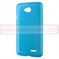 Capa Silicone Gel c/ Efeito Metal Escovado Para LG L65 / L65 DUAL / L70 / L70 DUAL Azul
