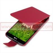Bolsa / Capa Pele Sintetica Flip Fina Para LG MAXIMO G2 / D802 Vermelha