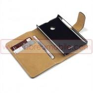 Bolsa / Capa Pele Sintetica Flip Cover Horizontal Para MICROSOFT LUMIA 435 Preta c/ Interior Castanho