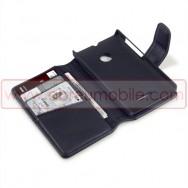 Bolsa / Capa Pele Genuina Flip Cover Livro Para MICROSOFT LUMIA 532 Preta