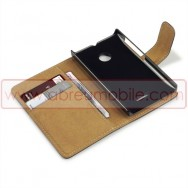 Bolsa / Capa Pele Sintetica Flip Cover Horizontal Para MICROSOFT LUMIA 532 Preta c/ Interior Castanho