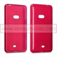 Capa Silicone Gel Para NOKIA LUMIA 625 Vermelha Transparente