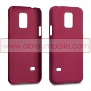 Capa Rigida Traseira Hibrida (Plastico C/Revestimento Fino em Silicone) para SAMSUNG GALAXY S5 MINI Vermelha Opaca