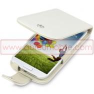 Bolsa / Capa Pele Genuina Flip Cover Para Samsung Galaxy S4 IV I9500 Branca