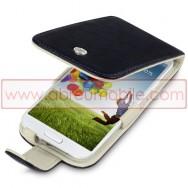 Bolsa / Capa Pele Genuina Flip Cover Para Samsung Galaxy S4 IV I9500 Preta