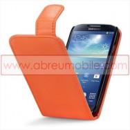 Bolsa / Capa Pele Sintetica v3 Flip Para Samsung Galaxy S4 IV I9500 Laranja
