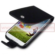Bolsa / Capa Pele Sintetica Flip Para Samsung Galaxy S4 IV I9500 Preta
