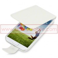 Bolsa / Capa Pele Sintetica Flip Fina Para Samsung Galaxy S4 IV I9500 Branca