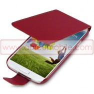 Bolsa / Capa Pele Sintetica Flip Fina Para Samsung Galaxy S4 IV I9500 Vermelha