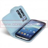 Bolsa / Capa Pele Sintetica Flip Horizontal Para Samsung Galaxy S4 IV I9500 Azul