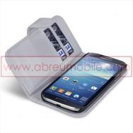 Bolsa / Capa Pele Sintetica Flip Horizontal Para Samsung Galaxy S4 IV I9500 Cinza