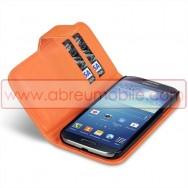Bolsa / Capa Pele Sintetica Flip Horizontal Para Samsung Galaxy S4 IV I9500 Laranja