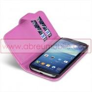 Bolsa / Capa Pele Sintetica Flip Horizontal Para Samsung Galaxy S4 IV I9500 Rosa