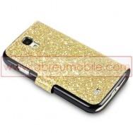 """Bolsa / Capa Pele Sintetica Flip Horizontal """"Fina"""" Brilhantes Para Samsung Galaxy S4 IV I9500 Amarela c/ Interior Preto"""