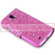 "Bolsa / Capa Pele Sintetica Flip Horizontal ""Fina"" Brilhantes Para Samsung Galaxy S4 IV I9500 Rosa c/ Interior Cinza"