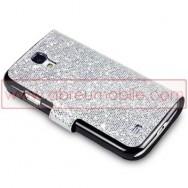 """Bolsa / Capa Pele Sintetica Flip Horizontal """"Fina"""" Brilhantes Para Samsung Galaxy S4 IV I9500 Prata c/ Interior Preto"""