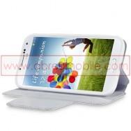Bolsa / Capa Pele Sintetica Flip Horizontal Fina Cavalete v2 Para Samsung Galaxy S4 IV I9500 Branca