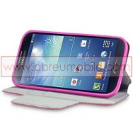 Bolsa / Capa Pele Sintetica Flip Horizontal Fina Cavalete v2 Para Samsung Galaxy S4 IV I9500 Rosa