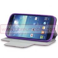 Bolsa / Capa Pele Sintetica Flip Horizontal Fina Cavalete v2 Para Samsung Galaxy S4 IV I9500 Roxa