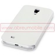 Bolsa / Capa Pele Sintetica Flip Horizontal Fina Cavalete v3 Para Samsung Galaxy S4 IV I9500 Branca