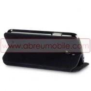 Bolsa / Capa Pele Sintetica Flip Horizontal Fina Cavalete v3 Para Samsung Galaxy S4 IV I9500 Preta